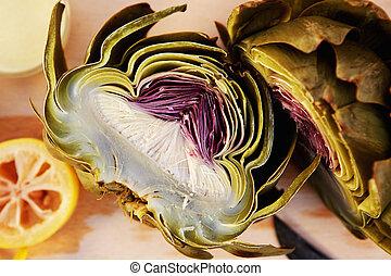 Close up artichoke cut in half - Top view close up half cut...