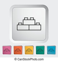 Building block thin line flat vector related icon set for...