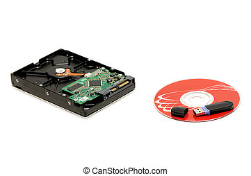 flash memory, computer disk and hard disk isolated on a...