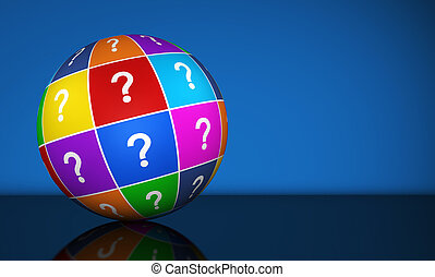 Question Mark Globe - Question mark symbol and icon on a...