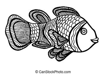Clownfish - Monochrome Clownfish Vector illustration...