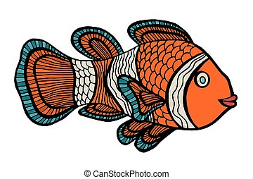 Clownfish. Vector illustration. Isolated on white. Hand...
