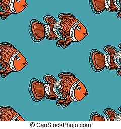 pattern - Anemonefish Clownfish blue seamless vector pattern...