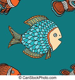 pattern - fish blue seamless vector pattern Hand Drawn...
