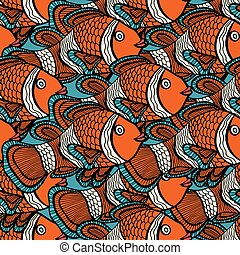 pattern - Anemonefish Clownfish blue seamless vector...