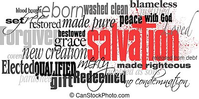 Christian Salvation word montage with red cross - Graphic...