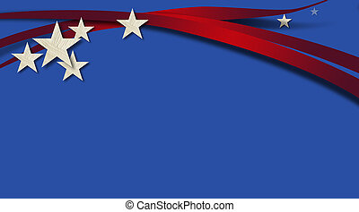 American Stars and Stripes Blue Background - Graphic...