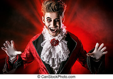 frighten - Handsome bloodthirsty vampire Halloween Dracula...
