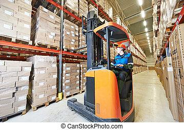 forklift loader at warehouse - warehouse forklift stacker...