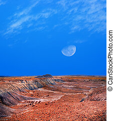 Arizona Petrified Forest and Moon - Moon and scenic...