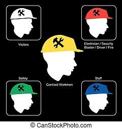 capacete,  -, local, aviso, segurança, construção