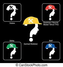 capacete,  -, local, cores, vetorial, segurança, construção