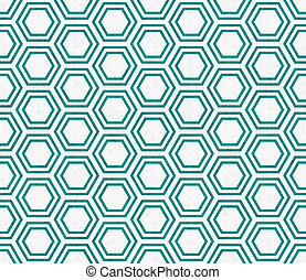Teal and White Hexagon Tile Pattern Repeat Background that...