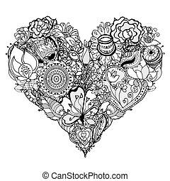 Heart - Hand drawn Heart of flower doodle background. Vector...
