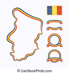 Colors of Chad - Outline map of Chad. Border is marked with...