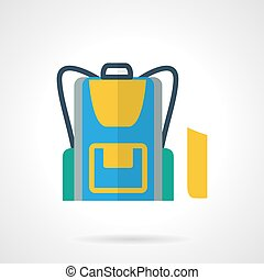 School backpack flat color vector icon - Stylish flat color...