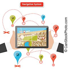 Navigation System - Hands hold smartphone with map of...