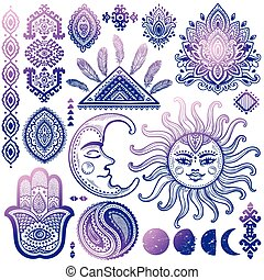 Sun, moon and ornaments vintage vector set - Sun, moon and...