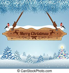 Christmas background with Wooden Sign, Bullfinch and Fir...