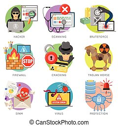 Internet Security Flat Icon Set for Flyer, Poster, Web Site...