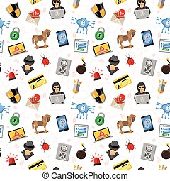 Internet Security Seamless Pattern with Flat Icon Set for...