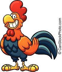 Cartoon rooster - Happy cartoon rooster Vector clip art...