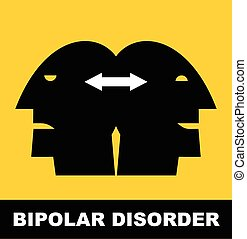 Bipolar Disorder - Person with Bipolar Disorder. Simple flat...