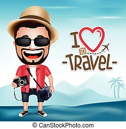 3D Realistic Tourist Man Character Wearing Photographer...