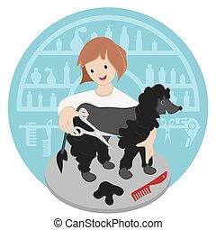 hairdresser - Pet hairdresser woman with dog vector...