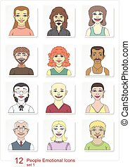 Set emotional people icons color - Color set of linear style...