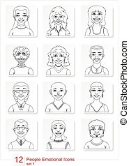 Set emotional people icons - Set of linear style people...