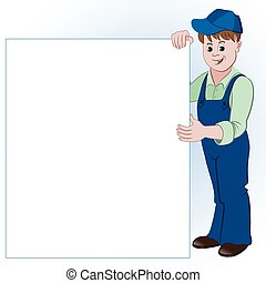 The workman or handyman standing with list of space for text