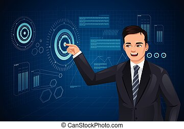 Man with Futuristic Looking Computer - A vector illustration...