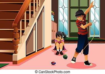 Kids Playing Spinning Top