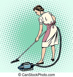 Woman vacuuming the room housewife housework comfort