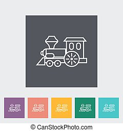 Train toy thin line flat vector related icon set for web and...