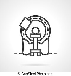 Simple line MRI machine vector icon - Computer tomography...
