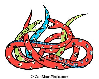 snakes - Two ornate snakes. Hand drawn illustration with...