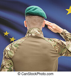 Soldier saluting to USA state flag conceptual series - Alaska