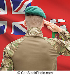 Soldier saluting to Canadial province flag conceptual series...