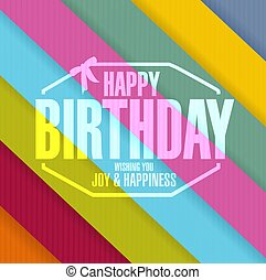 happy birthday stamp line colors background illustration...