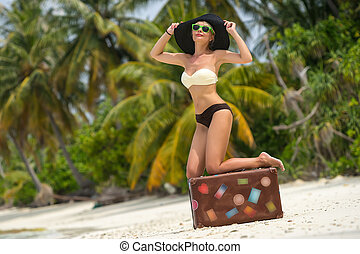 bello, ragazza, con, à, vendemmia, valigia, in,...