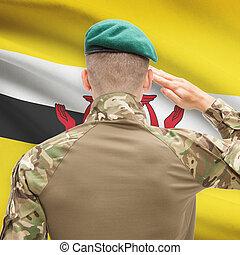 Brunei, fuerzas, serie, nacional, -, bandera, Plano de...
