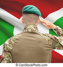 National military forces with flag on background conceptual...