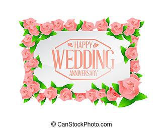 Happy weeding anniversary stamp floral board illustration...