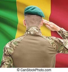 nacional, militar, fuerzas, con, bandera, en, Plano de...