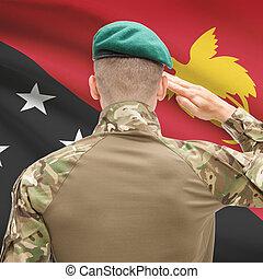 fuerzas, guinea, nacional, -, Papua, bandera, Plano de...