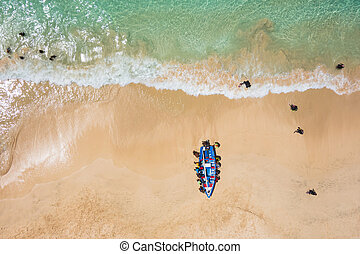 Aerial of a traditional fisher boat in Santa Maria in Sal...
