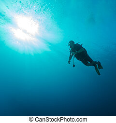 Silhouette of diver with sun disk behind