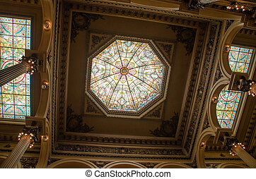 Full Stained Glass Ceiling - three-panel stained glass...
